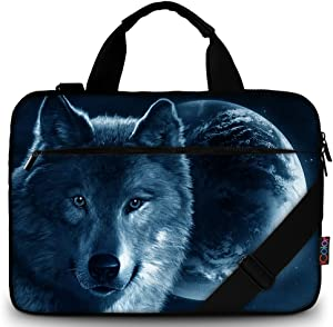 "iColor 11.6-12 13 13.3-inch Laptop Shoulder-Bag - Canvas Computer Tablet Carrying Case 13-13.3 inch Notebook Briefcase (12"" ~13.3"", Cool Wolf)"