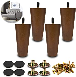 LIANGYUN Wood Furniture Legs 5 inch Sofa Legs Set of 4 for Couch, Mid-Century Replacement Legs Suitable for Sofá, Cabinet, Chair, TV Stand, Coffee Table, Bed, DIY Project(Brown Color)