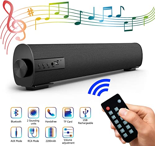 Portable Soundbar for TV PC, Outdoor Indoor Wired Wireless Bluetooth Stereo Speaker with The Newest Remote Control, 2 X 5W Mini Home Theater Sound bar with Built-in Subwoofers for Phones Tablets