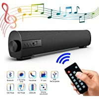 Portable Soundbar for TV/PC, Outdoor/Indoor Wired & Wireless Bluetooth Stereo Speaker with The Newest Remote Control, 2 X 5W Mini Home Theater Sound bar with Built-in Subwoofers for Phones/Tablets…
