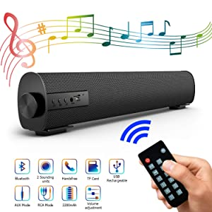 Portable Soundbar for Outdoor/Indoor Wired & Wireless Bluetooth Stereo Speaker with The Newest Remote Control, 2 X 5W Mini Home Theater Sound bar with Built-in Subwoofers for TV/PC/Phones/Tablets