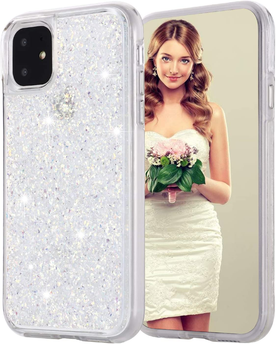 iPhone 8 Plus Case, Inkomo Women Luxury Fashion Glitter Gold Foil Sparkle Hard Back Cover with Clear TPU Bumper Protective Phone Bling Case for iPhone 8 Plus / 7 Plus / 6s Plus 5.5'' (White / Gold)