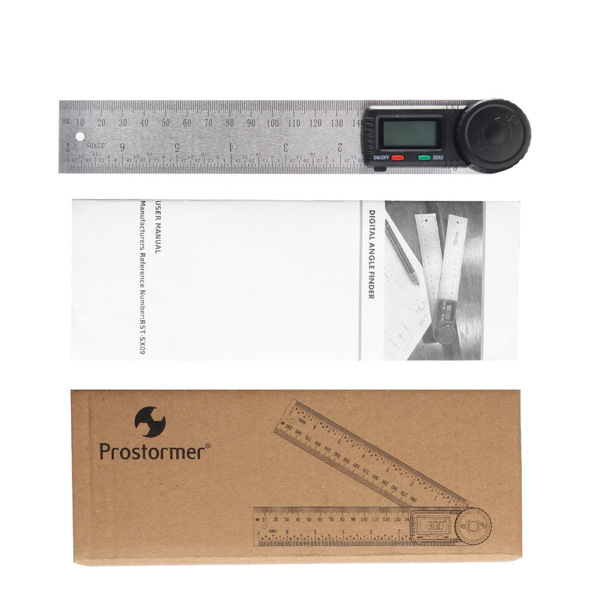 Prostormer Digital Angle Finder with Locking and Zeroing Function, 360 Degree Protractor 7 inch Stainless Steel Ruler for Woodworking, Construction and Drawing by Prostormer (Image #7)