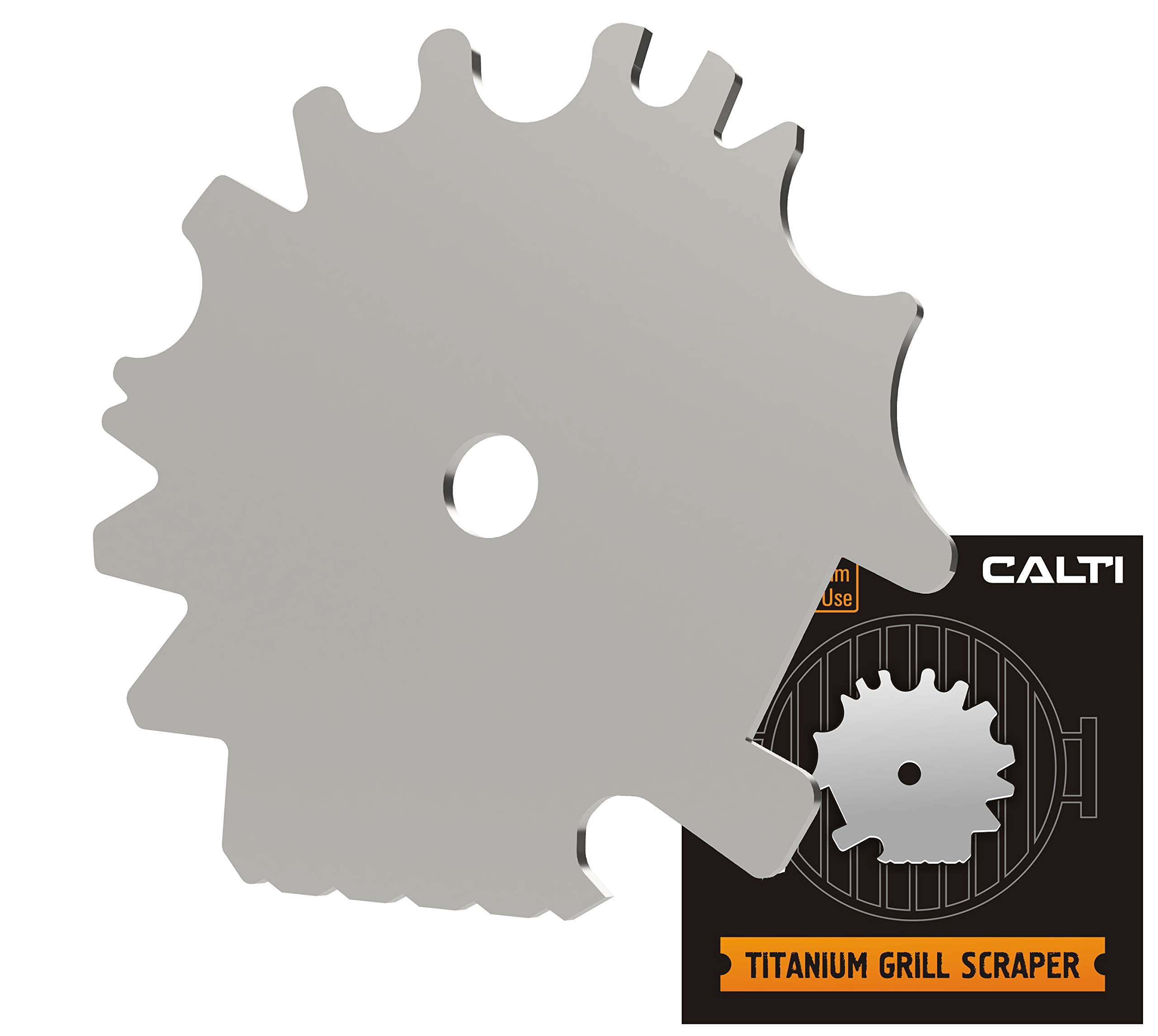 Calti Titanium Grill Scraper for Any Kind of Grill - BBQ Cleaning Tool – The Safest Grill Scrubber for Effective Quick BBQ Grate Grills and Griddle Cleaning - Bottle Opener - Heavy Duty