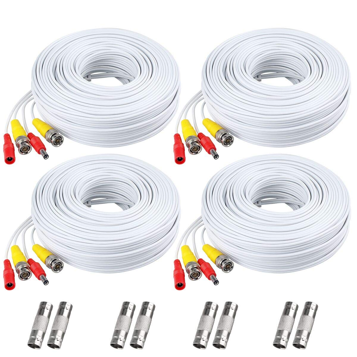 BNC Cable, 150ft 4Pack All-in-One Siames Video and Power Security Camera Wire Cord with 2 Female Connectors for All HD CCTV DVR Surveillance System (4x150FT BNC Cable White) by WildvisionHD