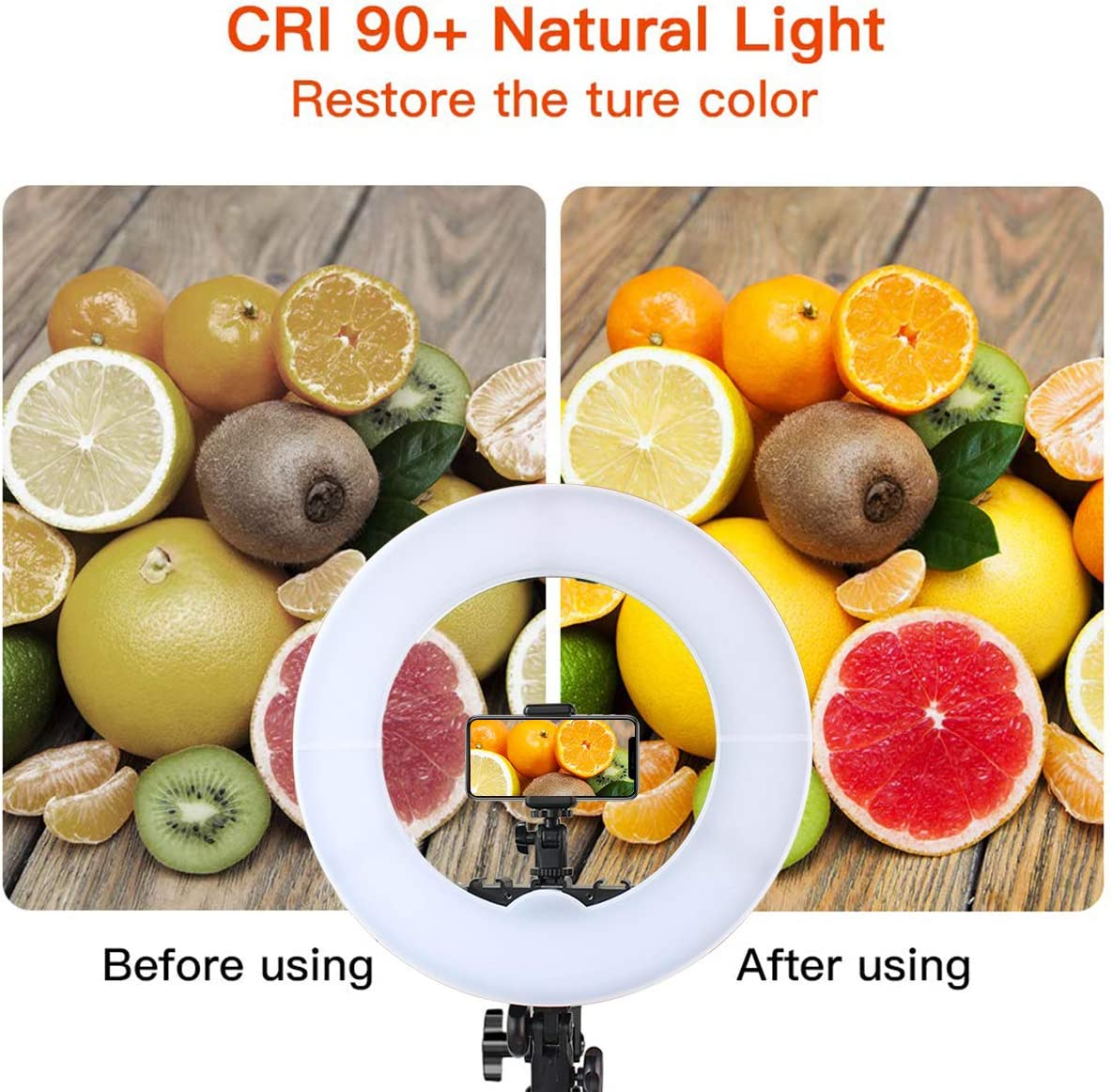 Qinhum Ring Light Dimmable LED Light Camera Phone Holder Stand Photo Video Studio Live Streaming Vlog Selfie Ship from US