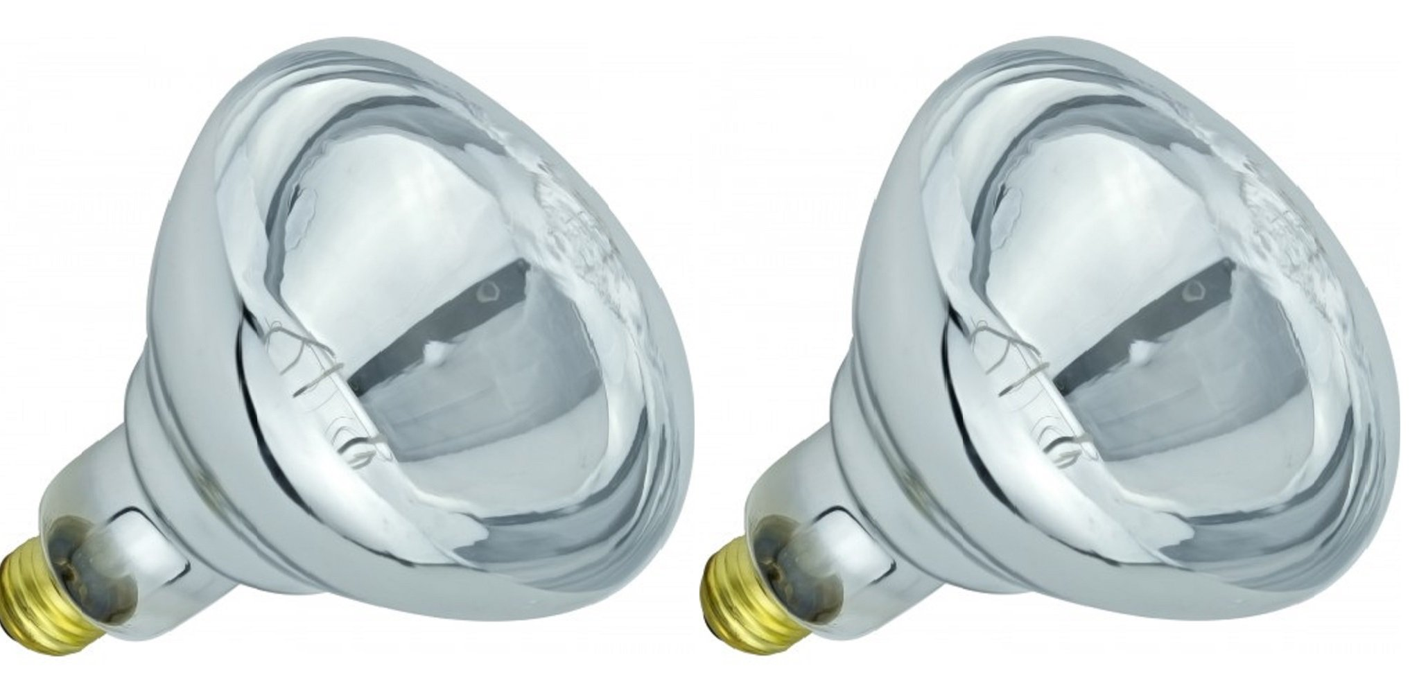 Pack Of 2 BR40/250/E26 Heat Lamp 250-Watt BR40 Clear Flood Reflector Mediume Base Light Bulb