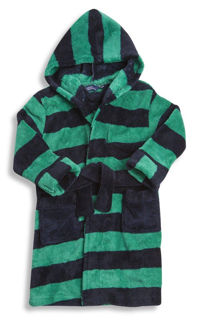 Childrens Kids Boys Infants Juniors Stripe Dressing Gown Blue/Green Street Essentials