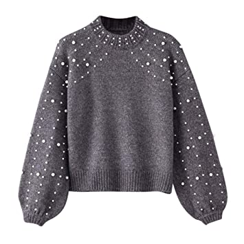 6ca24c1a39b Anglewolf Women Winter Gray O Neck Long Sleeve Pearl Knitted Sweater ...