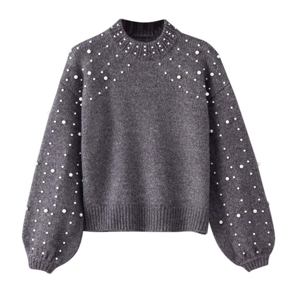 Btruely Sweatshirt Damen Winter Gestrickte Langarmshirt Frauen Pullover Groß Größe Oberteile Perle Sweater Mode Mantel