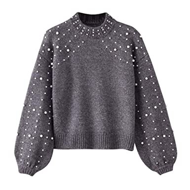iLH Women s Round Neck Pearl Pullover ❤ Long Sleeve Pearl Knitted Sweater  Blouse Pullovers Tops( 7707cf7b83