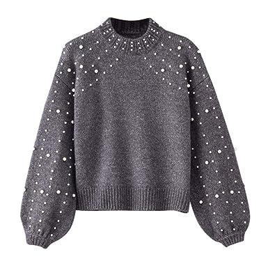 4305911fe02d OIKAY Pullover mit perlen Damen Abverkauf Heißer Damen Winter Bluse Pullover  Grau O Neck Langarm Perle