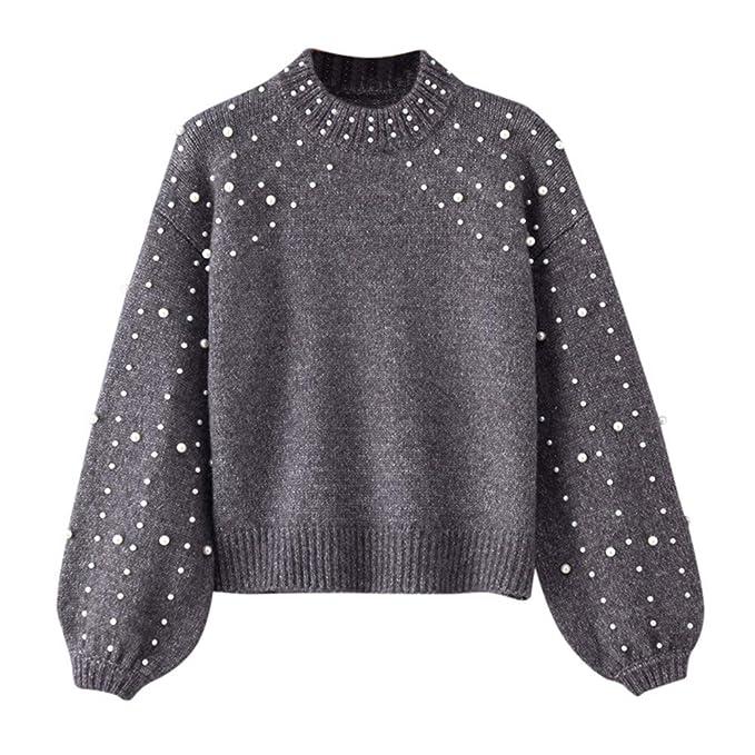 otra oportunidad 9a13a 32ed3 Suéter de Las Mujeres de la Perla, Gris Invierno O Cuello Manga Larga Perla  de Punto suéter Blusa Jerseys Absolute