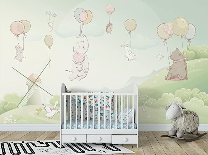 amazon com animals with balloon nursery decorative wallpaper fly toanimals with balloon nursery decorative wallpaper fly to sky theme wall mural for baby bedroom removable fabric wall decal for kids self adhesive wall print