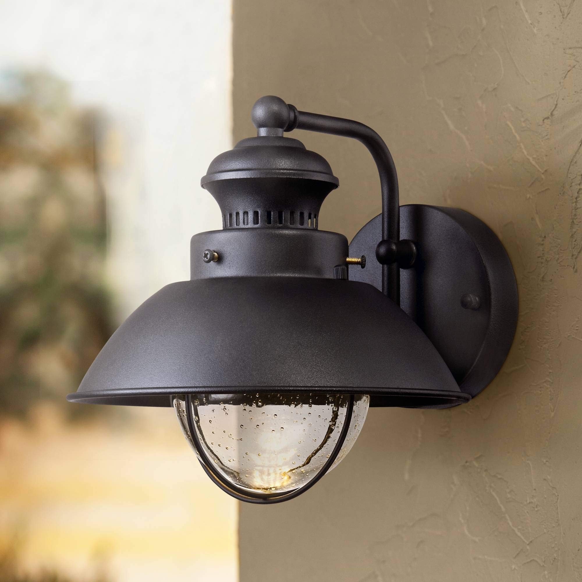 Fordham Rustic Outdoor Wall Light Fixture LED Black 8'' Seedy Glass Sconce for Exterior Deck Porch Patio - John Timberland
