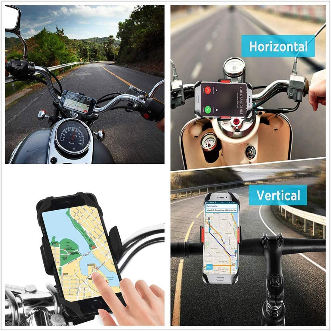 BlackBerry and More Stem Compatible for All Smartphones iPhone X XR 6 7 8 Plus Galaxy S10 S9 S8 Universal Motorcycle Phone Holder with 2 Adjustable Anti Shake Silicone Bands Bike Phone Mount LG