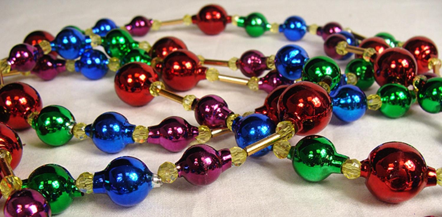 Club Pack of 12 Glass Bead Multicolored Christmas Garlands 6'