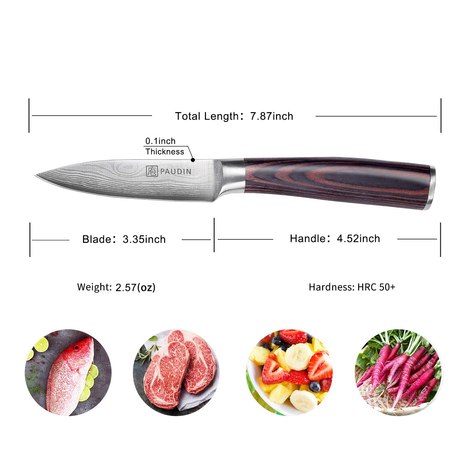 Paring Knife - PAUDIN 3.5 Inch Kitchen Knife N8 German High Carbon Stainless Steel Knife, Fruit and Vegetable Cutting Chopping Carving Knives by PAUDIN (Image #7)