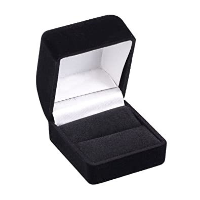 Amazoncom Simple Black Velvet Jewelry Ring Box Fits Single Wedding