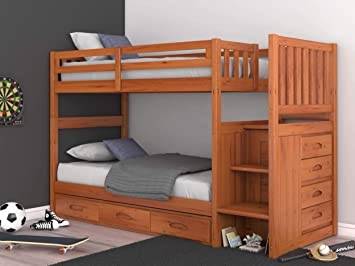 Amazon Com Discovery World Furniture Mission Twin Over Twin Staircase Bunk Bed With 3 Drawers In Honey Finish Furniture Decor