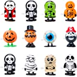 Bravo Sport 12 Pack Halloween Wind Up Toys, Assorted Novelty Jumping and Walking Clockwork Toys, Halloween Party Favors…