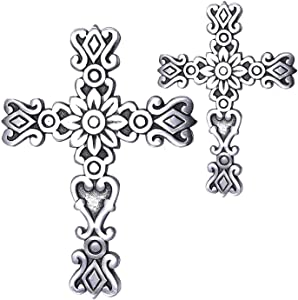 Ardour Set of 2 9.5 x 5 Inches Antique Silver and Black Wall Cross for Home Decor.Metal Hanging Decorative Crosses Wall Decor.Cross for Wall of Crosses,Religious Home Decor