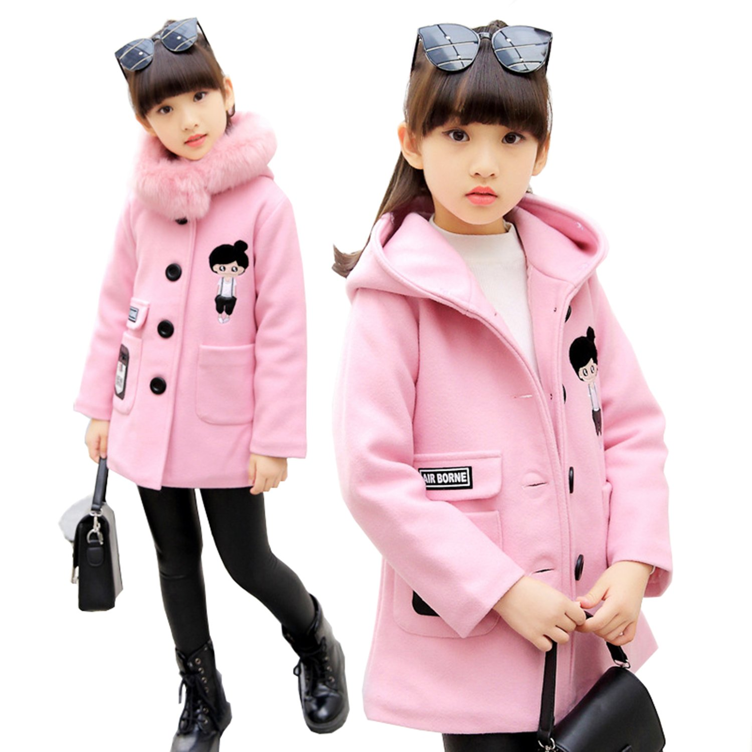 Euno Winter Girls' Fashion Thickening Detachable Fur Collar Coats and Hooded Coats Pink P120
