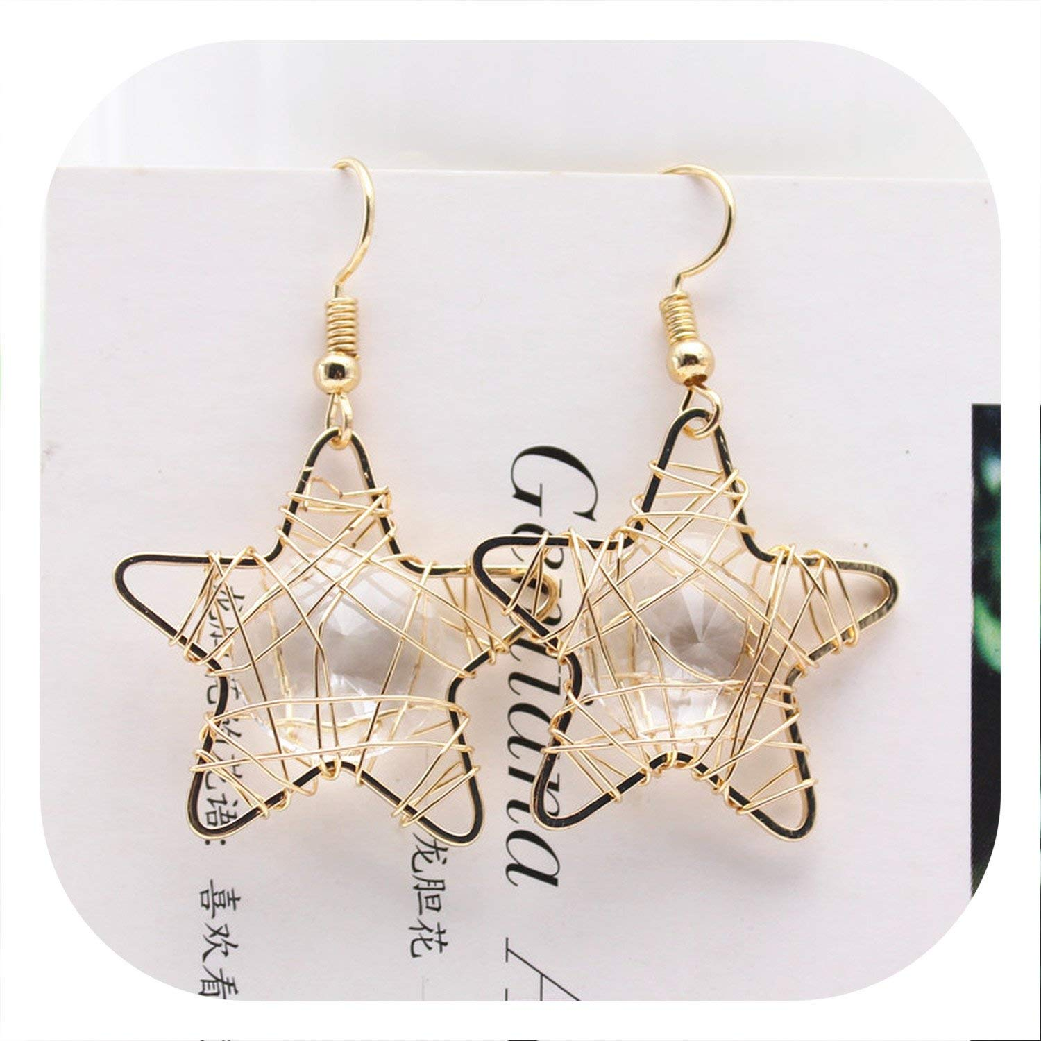 new fashion brand jewelry elegant style Barbed wire Five-pointed star big Crystal stud earrings gold earring for women gift