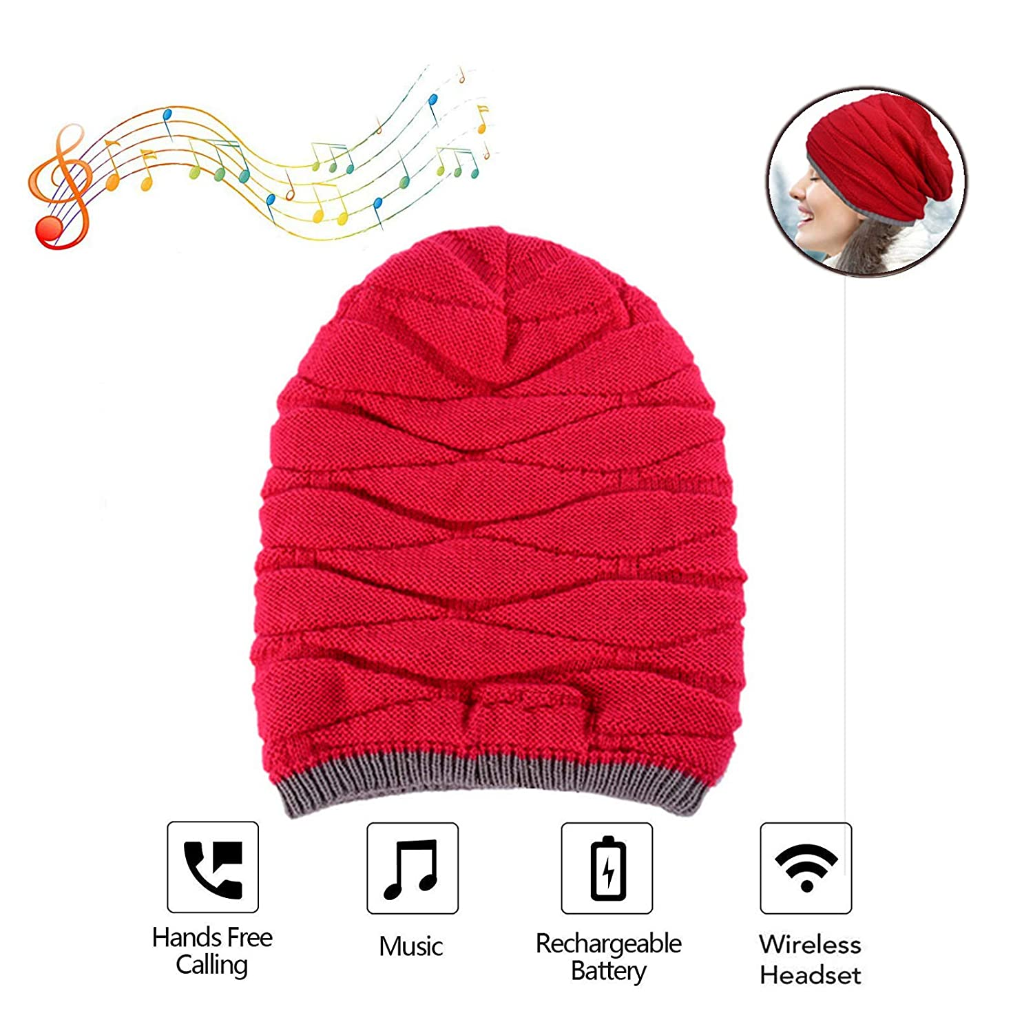 Jeystar Bluetooth Beanie Hat Stereo Speaker Wireless Cap Unisex Knit Cellphones Headset Music Hands Free Phone Call Answer Fitness Exercise Sports Outdoor for Birthday Festival Christmas