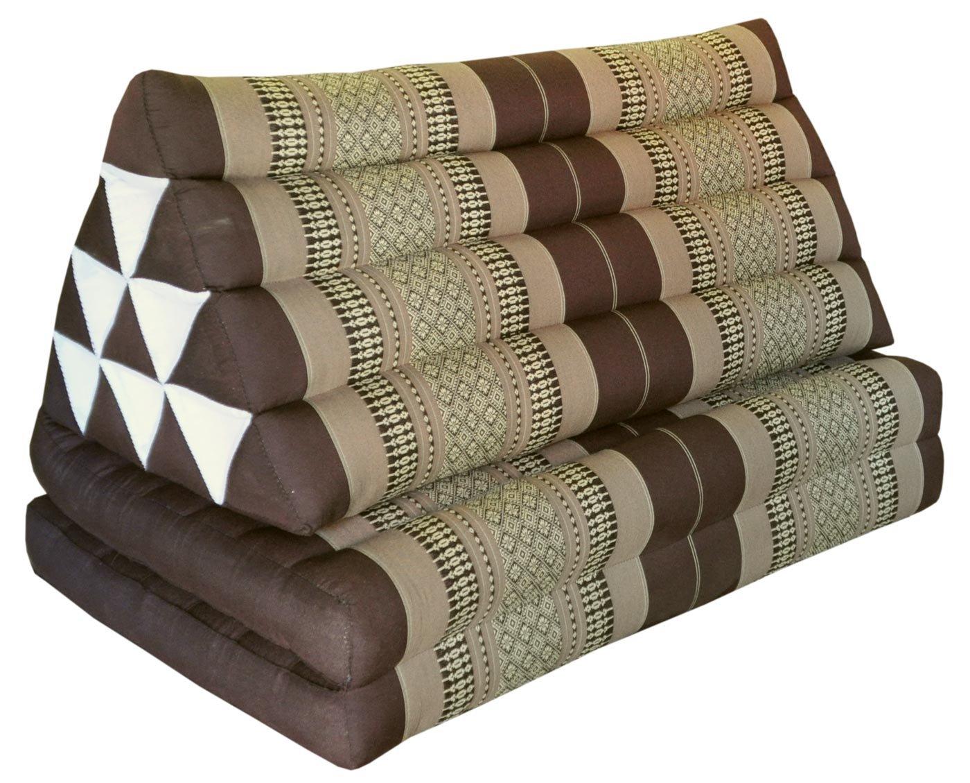 Thai triangle cushion XXL, with 2 folding seats, brown, sofa, relaxation, beach, pool, meditation, yoga, made in Thailand. (82417)