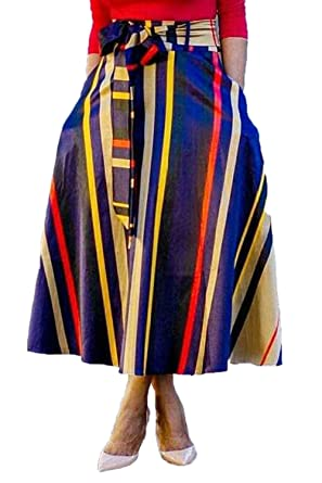 ea5a66d978 ENLACHIC Women African Print High Waist Casual Maxi Skirt with Belt  Pockets, XL Plus Size at Amazon Women's Clothing store: