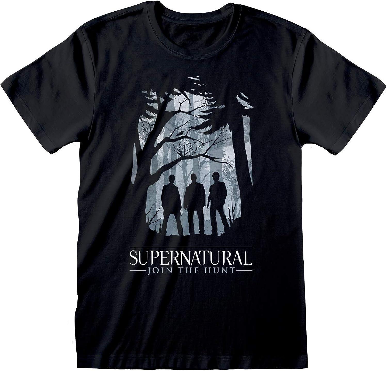 Popgear Supernatural Silueta Bosque Camiseta para Hombre | mercancía Oficial: Amazon.es: Ropa y accesorios