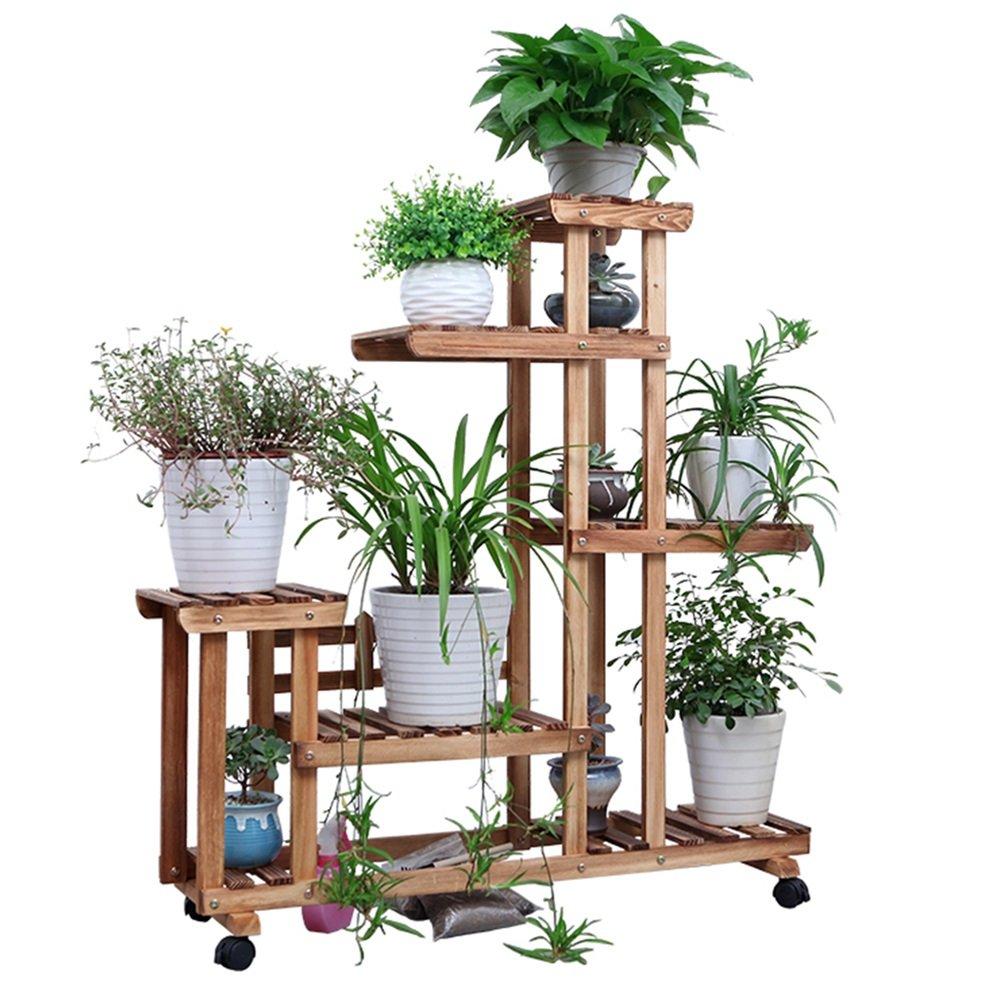 Moderne Antisepsis-hölzerne Blumen-Zahnstangen Mehrschichtige Boden-Töpfe Regale Bonsais-Terrasse-Balkon-Wohnzimmer-Innengrün-Blumen-Blumen-Zahnstangen ZHAOYONGLI (Farbe : Charcoal+Wheel)