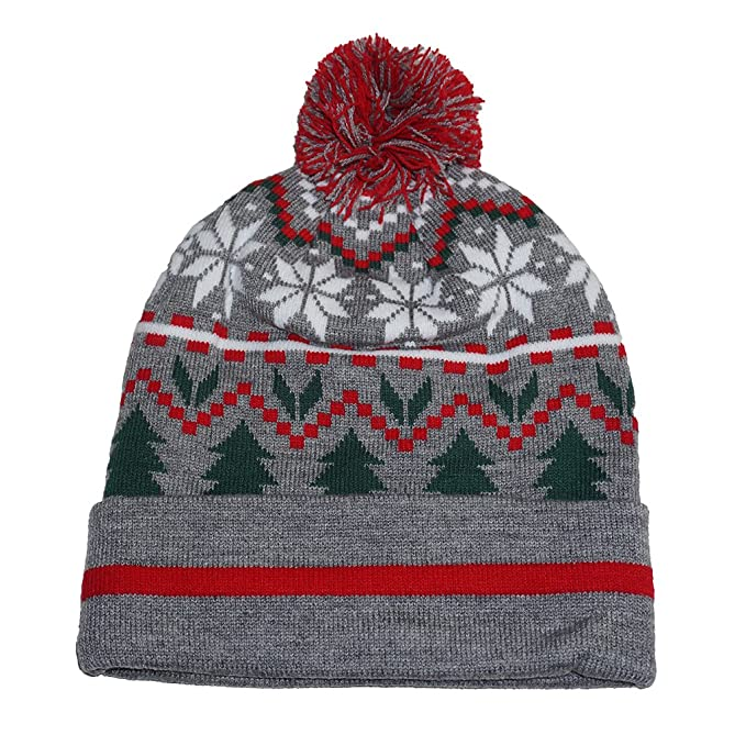 6d6be777f1601 Gertex Adult Christmas Holiday Knit Beanies (Grey X-Mas) at Amazon Men s  Clothing store