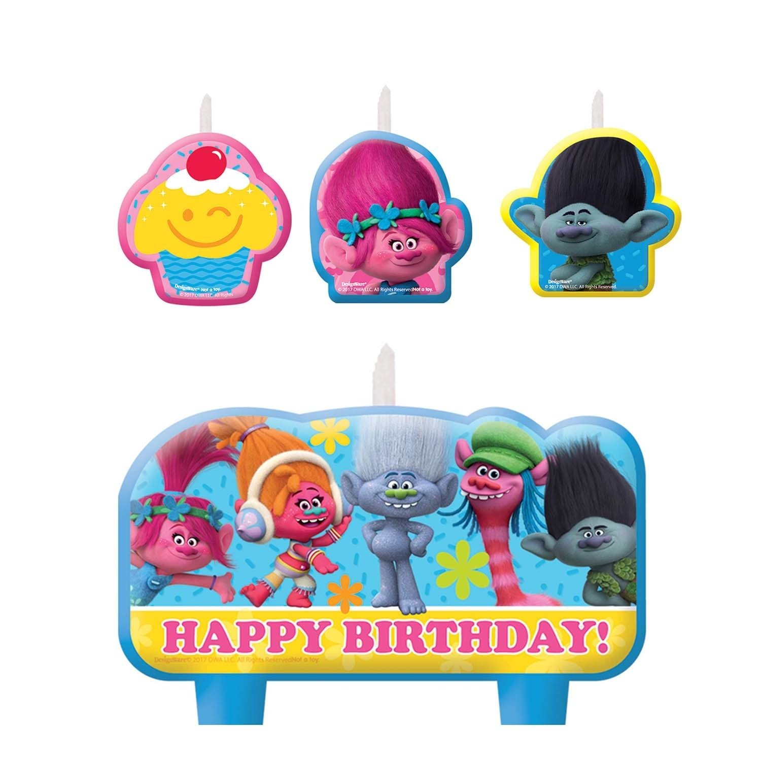 Amscan Trolls The Movie Candles 4 Count Birthday Party Supplies