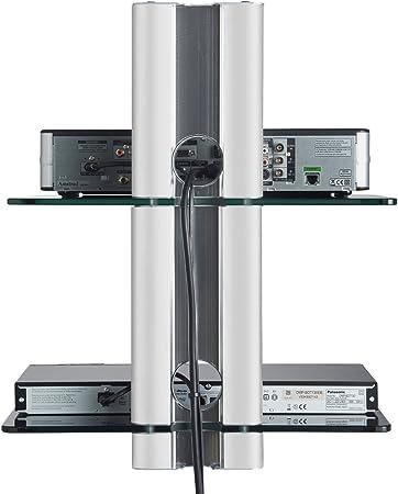 Vonhaus - 2X Estante Flotante de Cristal vonhaus de Designer Habitat Soporte para Reproductores DVD/BLU-Ray, Caja de Cable/satélite, Consola de Juegos, Plateado: Amazon.es: Electrónica