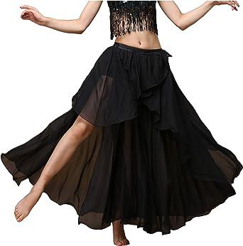 freneci Ladies Belly Dance Costume Long Satin Swing Dance Skirt Maxi Skirt Big Swing