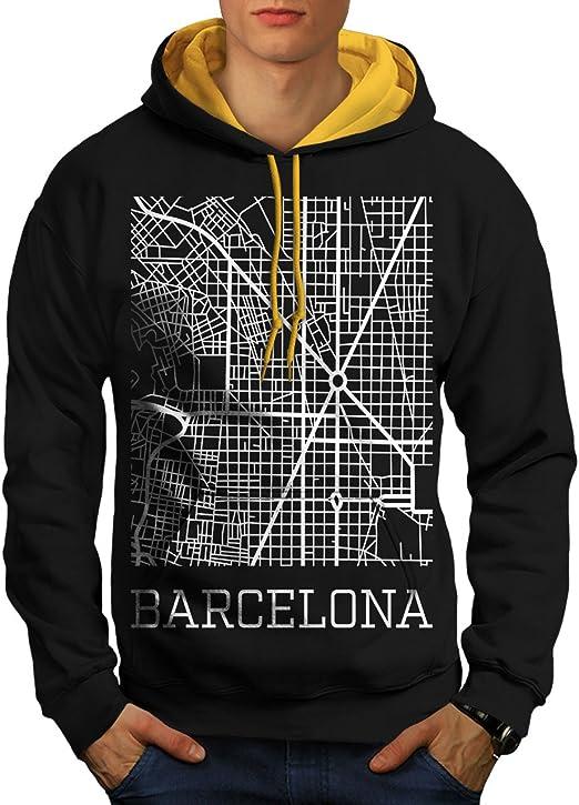 Wellcoda España Ciudad Barcelona Hombre Sudadera con Capucha ...