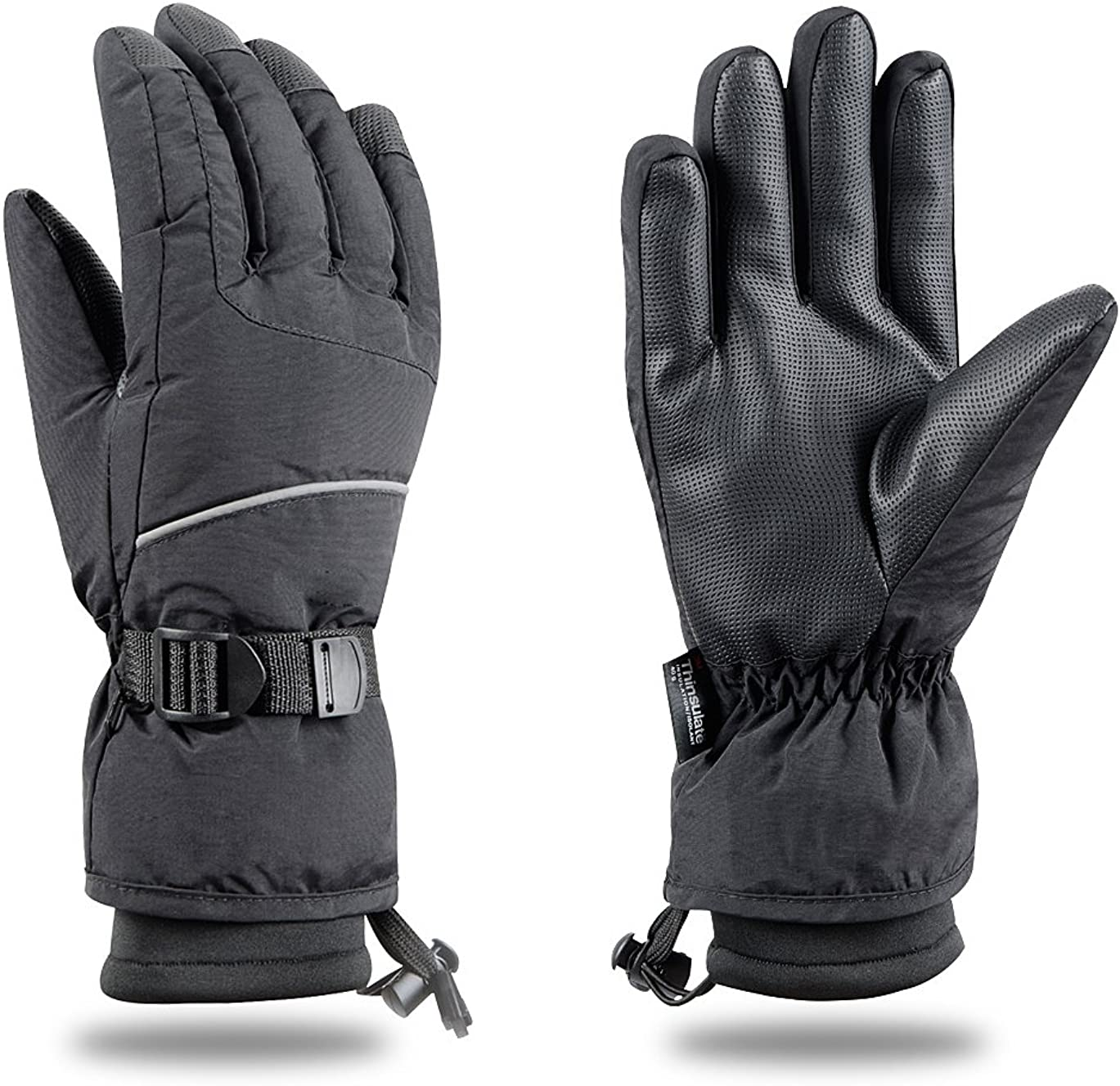 Black Ski Gloves Snowboard Snowmobile Waterproof Windproof  3M Thinsulate Winter Warm Snow Cold Gloves Large
