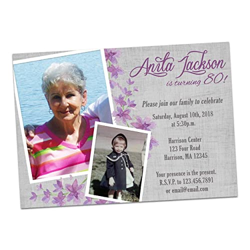 Amazon Purple Photo Birthday Invitation Woman Female Women 60th