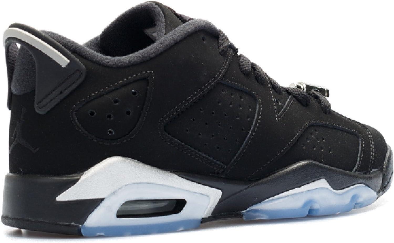 Nike Boys Air Jordan 6 Retro Low BG Chrome BlackMetallic Silver White Leather