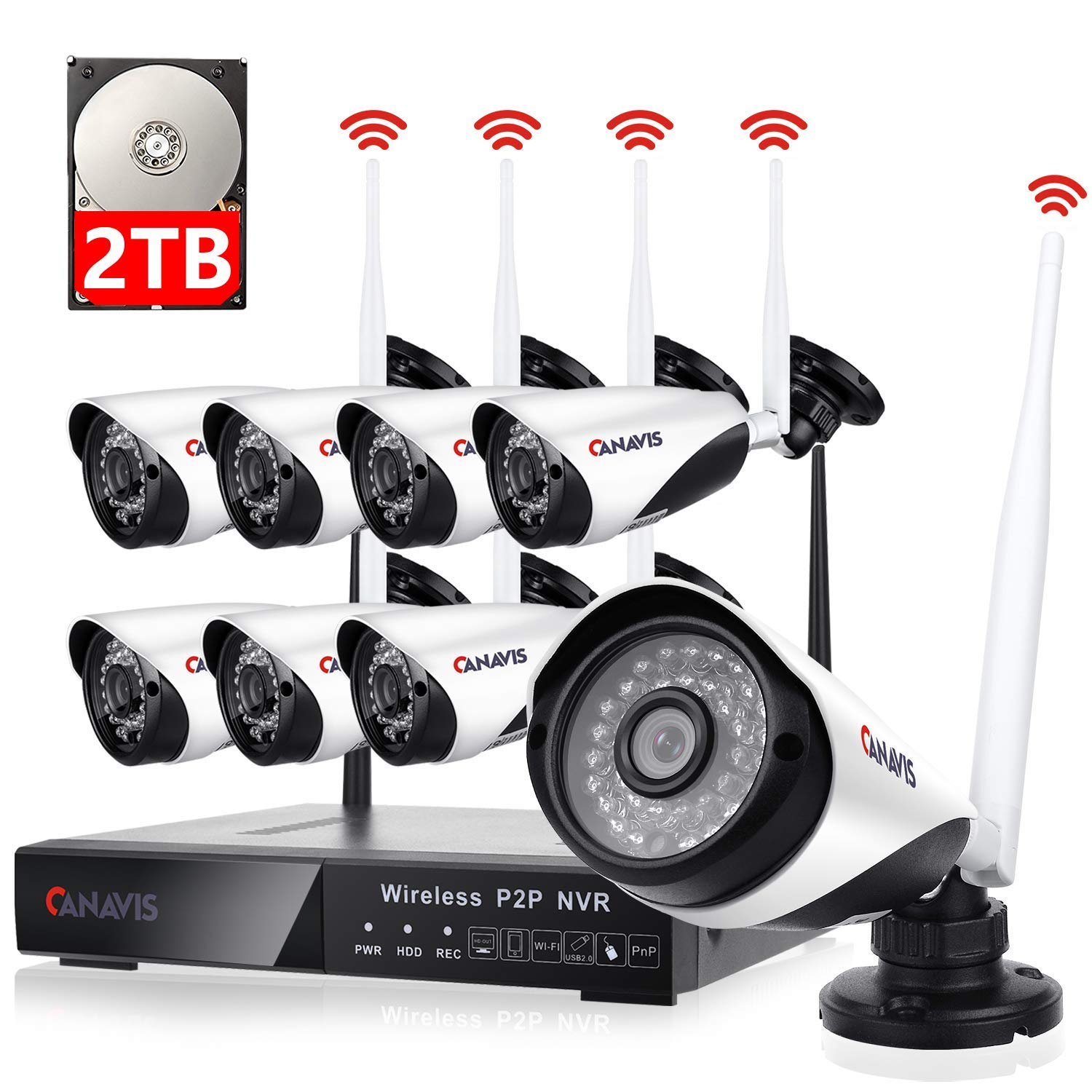 8 Channel Wireless Security Camera System NVR Video Surveillance System 720p Bullet Camera with Night Vision Motion Detection Backup 2TB Hard Drive for Indoor Outdoor