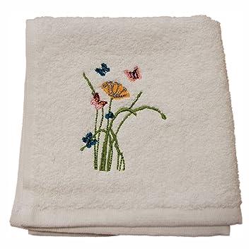 Homescapes Toalla de Cara de algodón Egipcio con Mariposas y Flores Bordadas