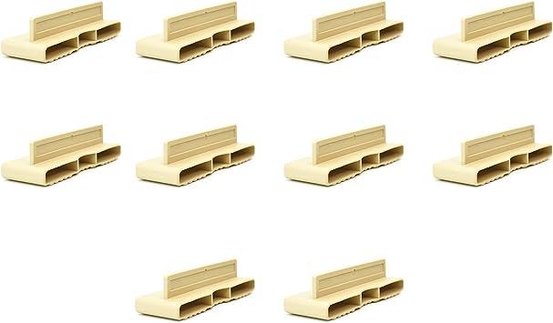 10 soportes dobles de plástico de 38 mm para somieres de madera