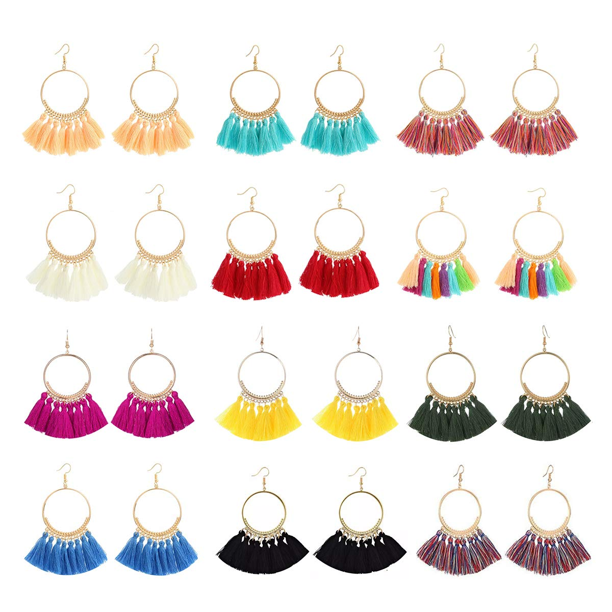 LANTAI 12 Pairs Bohemian Hoop Tassel Earrings Set-Colorful Fan Tassel Statement Earrings for Women Girls Gifts Jewelry by LANTAI