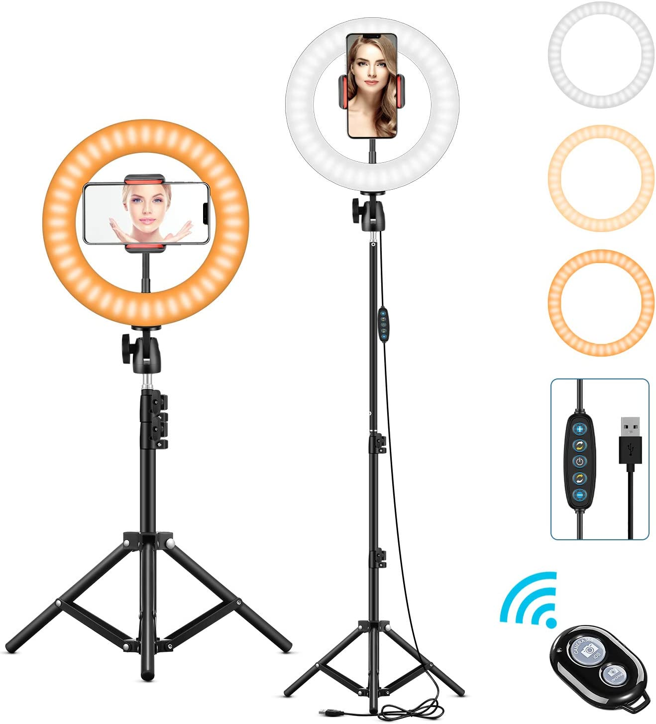 """10"""" Selfie Ring Light with Tripod Stand & Phone Holder for Makeup/YouTube/TikTok/Photography Dimmable Led Ringlight 3200K-6500K Adjustable Ring Light Tripod Compatible with iPhone & Android Phone"""