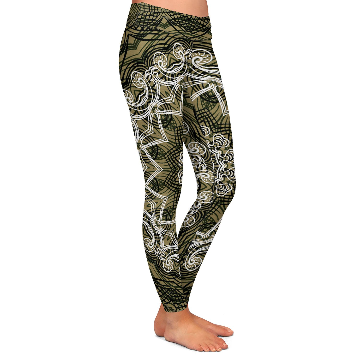 Athletic Yoga Leggings from DiaNoche Designs by Angelina Vick Medallion 5 Olive