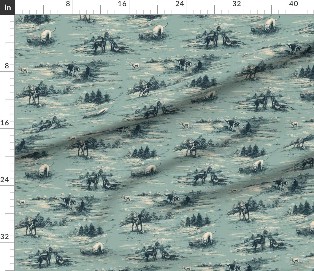 Sewing Shirting Quilting Dresses Apparel Crafts Labrador Toile Duck Egg Blue Teal Ink Drawing Unisex Dogs Hand Drawn Printed on Cotton Poplin Fabric by The Yard Spoonflower Fabric