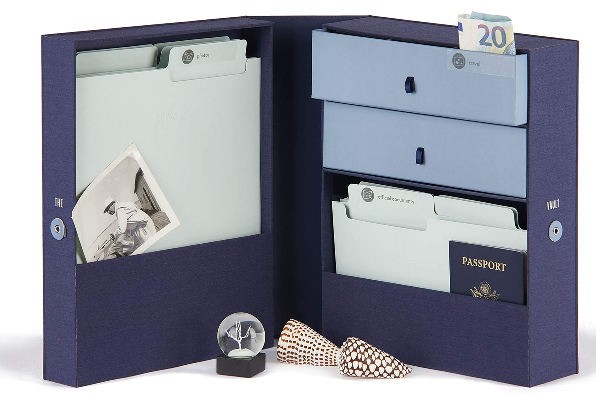 Savor All-in-One Fabric Desk Organizer Storage System-The Vault-Filing system holds Important Documents and Objects including passports, money, keepsakes, letters, collections, office supplies, photos by Savor