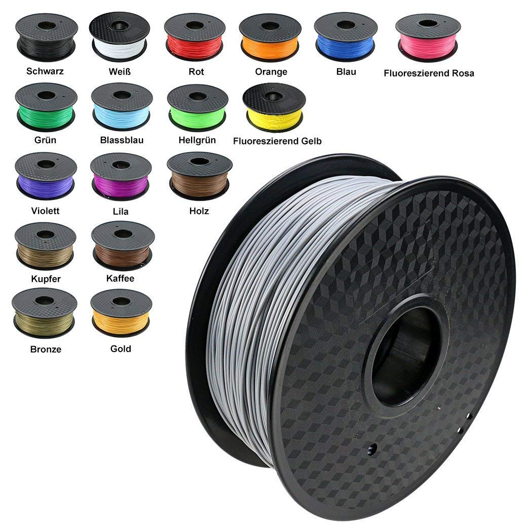 TIANSE Silver Metal 3D Printer Filament PLA 1.75mm 1KG Spool Filament for 3D Printing, Dimensional Accuracy +/- 0.03 mm